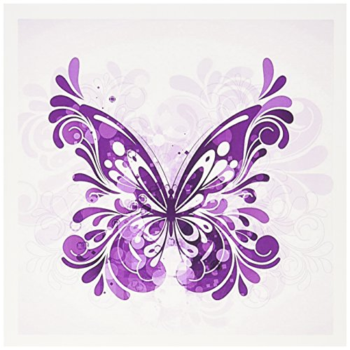 3dRose Pretty Purple Flourish Butterfly - Greeting Cards, 6 x 6 inches, set of 12 (gc_152369_2)