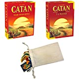 Catan 5th Edition Board Game with Catan 5-6 Player Extension Bundle | Includes Convenient Drawstring Storage Bag