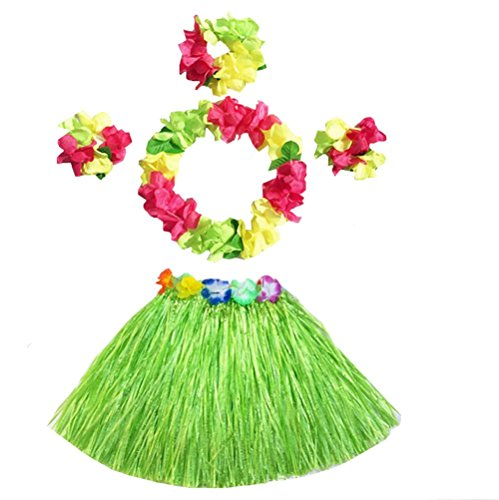 Girl's Elastic Hawaiian Hula Grass Skirt Dancer Performance Costume Set for Kids (Green) -