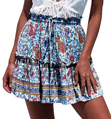 Doballa Women's Floral High Waist Drawstring Ruffle Flared Boho A-Line Pleated Skater Mini Skirt (M, Blue and Orange Flower) ()