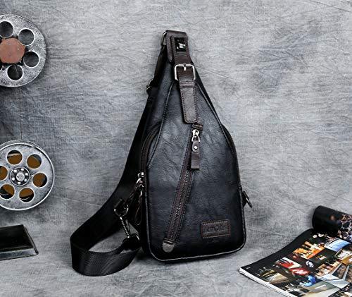 Alena Culian Sling Backpack Men Leather Chest Bag Crossbody Shoulder Bag For Men(black) 19