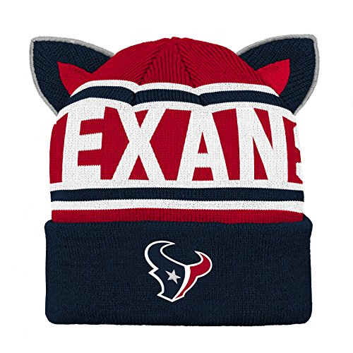 96e5c878694 Outerstuff NFL Houston Texans Team Ears Fleece Knit Hat Deep Obsidian