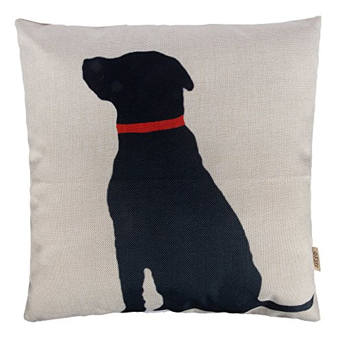 Fjfz Cotton Linen Home Decorative Throw Pillow Case Cushion Cover for Sofa Couch Black Dog with Red Collar Lab Décor Dog Lover Decoration, 18