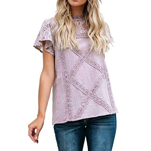 GOWOM Womens Lace Patchwork Flare Ruffles Short Sleeve Cute Floral Shirt Blouse -