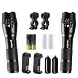 2 Pack of Portable LED Flashlights 2000 Lumens Flashlights Outdoor Waterproof Handheld Torch Flashlight with 18650 Rechargeable Battery Charger Bike Mount for Bicycling Fishing Camping