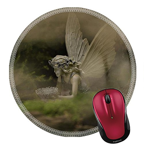 Childhood Garden Sculpture (Liili Round Mouse Pad Natural Rubber Mousepad IMAGE ID: 23067470 Fairy sculpture)