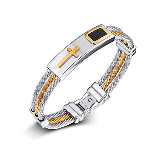 de865752e7b7 joielavie joyas pulsera brazalete multicapa trenzado Cable piel tricolor  Cruz Crucifijo Acero Inoxidable Cool Biker Pulsera