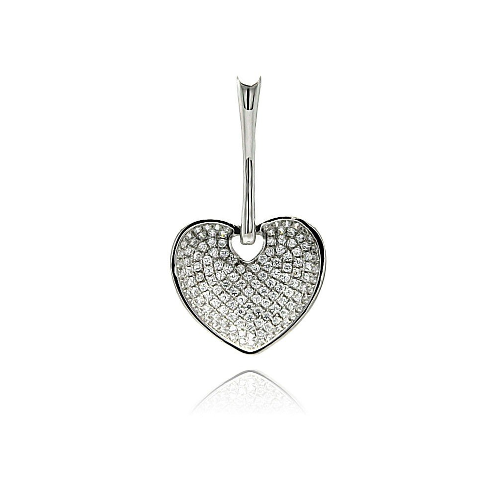Princess Kylie Pave Set Cubic Zirconia Hanging Heart Pendant Rhodium Plated Sterling Silver