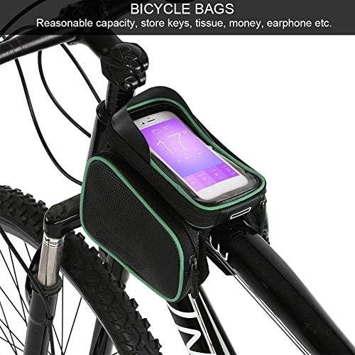 自転車フレームバッグユニバーサル自転車ハンドルバーバッグ6.2インチ防水タッチスクリーン自転車サドルバッグ