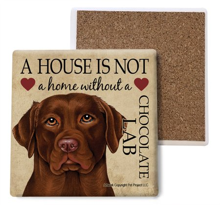 Chocolate Lab Absorbent Stone Coasters, Set of 4 (SJT24725)