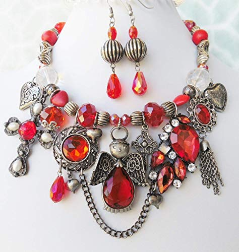 Crystal Pewter Signed Vintage Guardian Angel Gemstone Necklace Earrings Bracelet One of a Kind