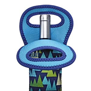 BUILT NY Neoprene Wine/Water Bottle Tote, Wintergreen Forest