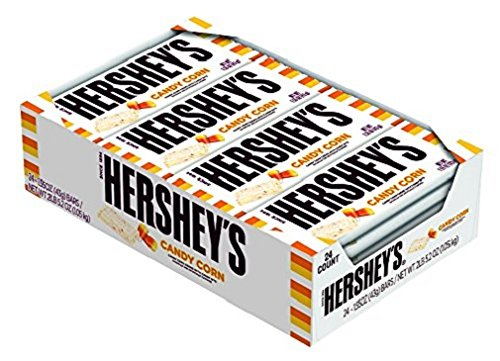HERSHEY'S Candy Corn, Candy Corn Flavored Crème with Candy Bits Individually Wrapped Full Size Bar in Halloween Packaging, 1.55 Ounce Bar (24 Count) -