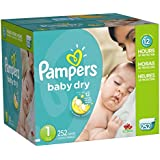 Pampers Baby Dry Diapers Economy Pack Plus, Size 1, 252 Count (One Month Supply)