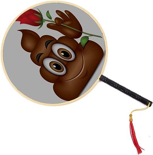 Emoticon de caca sosteniendo una rosa roja Emoji Poop Face Ventilador antiguo chino Clásico Palacio Ventilador de paleta Ventilador de ventilador Ventilador de mano Ventiladores de mano grandes para: Amazon.es: Hogar