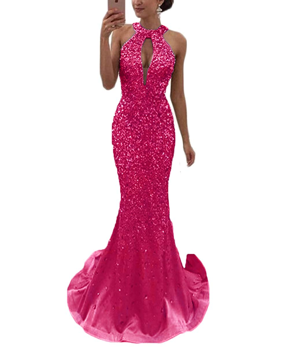 Fuchsia SDRESS Women's Crystal Beaded Halter Key Hole Mermaid Evening Gowns Rhinestone Open Back Prom Dress