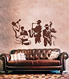 Ik200 Wall Decal Sticker Decor Jazz Musicians Drums Bass Saxophone Trumpet Music Song Interior Living Bed