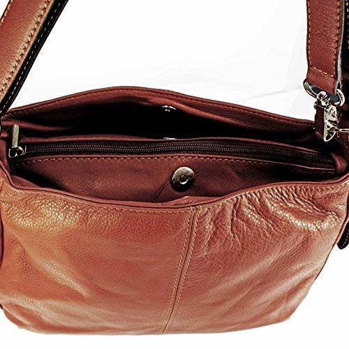 Echt Leder Handtasche Ledertasche Schultertasche Messengertasche braun