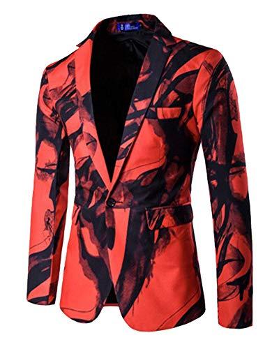 Imprimée Fantaisie Florale Blazer Costume Rouge Cocktail Veste Homme 6pBdHxd