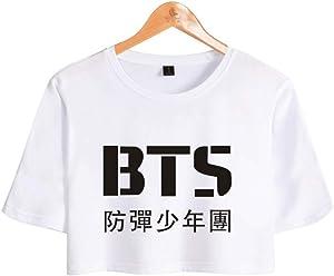 blusa de bts corta de color blanco