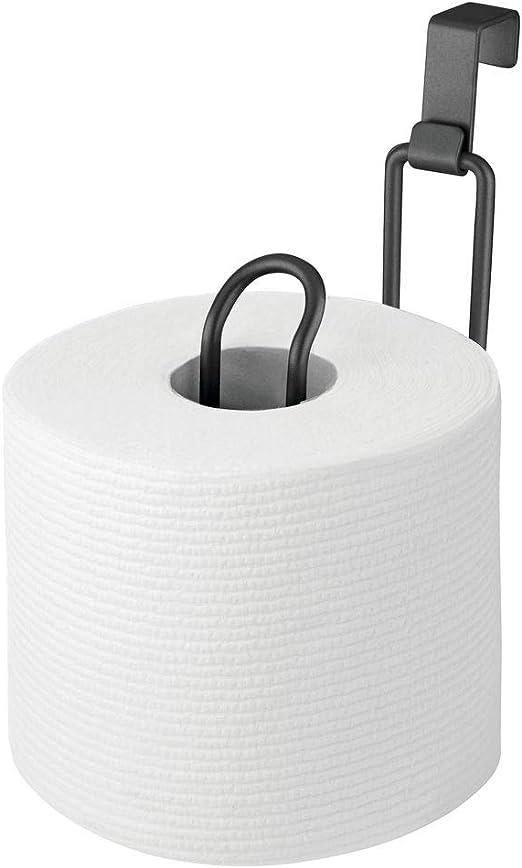 Pr/áctico porta rollo para ba/ño en metal inoxidable para colgar Soporte para papel higi/énico para colgar sin taladro mDesign Pr/áctico portarrollos de papel higi/énico para 2 rollos plateado mate