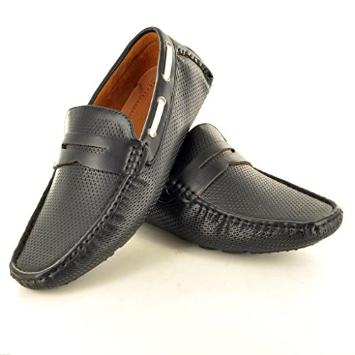 New Men s perforiertem Leder Look Casual Loafer Mokassins Slip auf Schuhe Schwarz