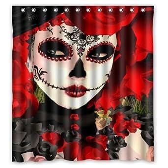 66 W X72 H Inch Dia De Los Muertos Suger Skull New Waterproof Polyester Curtain