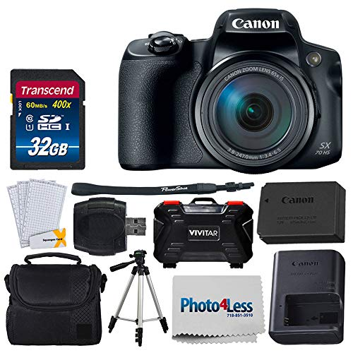 Canon PowerShot SX70 HS Digital Camera + Transcend 32GB SDHC Memory Card Premium Class 10 + Camera/Video Case (Black) + 60