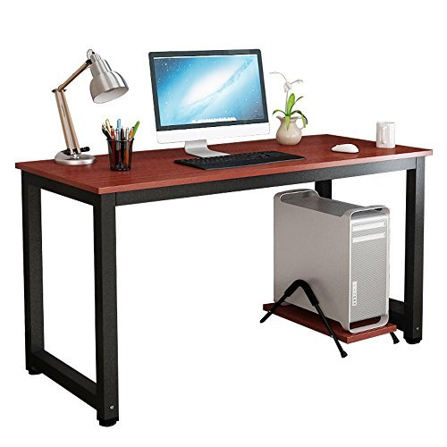 Computer Host Bracket, 19.7'' CPU Floor Mount Tower Holder Stand Computer Accessories for Home Office, Teak + Black Leg