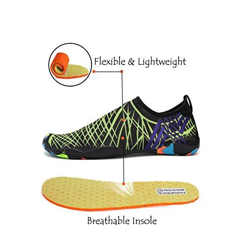 Lxso Männer Frauen Wasser Schuhe Multifunktionale Quick-Dry Aqua Schuhe Leichte Schwimmschuhe Mit Entwässerung Löcher Grün