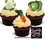 12 x Allotment Veg Mix Carrots Cauliflower Cabbage Garden Gardener - Fun Novelty Birthday PREMIUM STAND UP Edible Wafer Card Cake Toppers Decoration