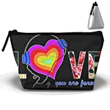 HGUII-O Colorful Music Love Makeup Bag Cosmetic Pouch Travel Bag With Zipper Closure For Women Girls