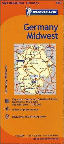 Michelin Map Of Germany.Michelin Germany Midwest Map 543 Maps Regional Michelin
