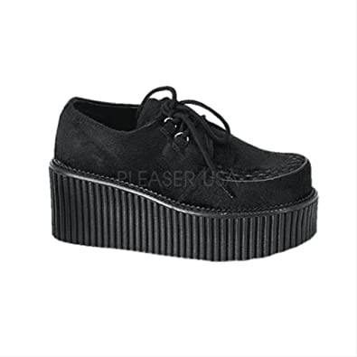 87a21a1f56d Demonia CREEPER 3 Inch Fur Platform Goth Shoe Creeper Shoe Black Fur Size  6