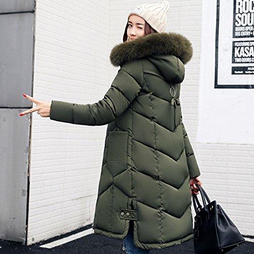 Jacket Women COMVIP Coat Fur Long Slim Puffer Hood Faux Green Quilted 5qAA0wn7dI
