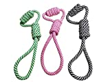LPET 3Pack Pet Chew Rope Toys Double Loop for Dogs Teeth Cleanning Bitting Training