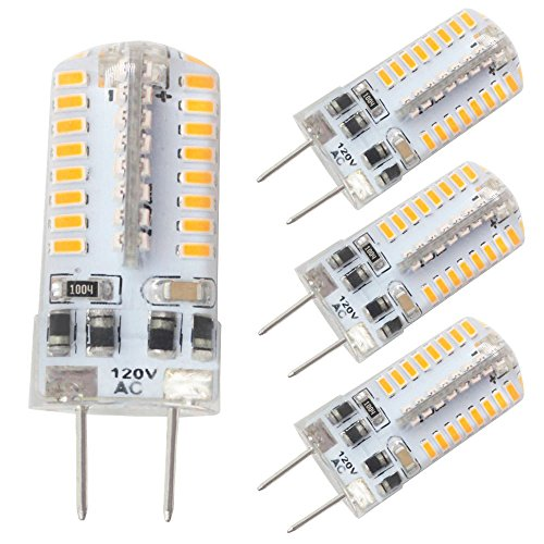 Dayker G8 Bi-Pin Base LED Bulb Dimmable T4 Jc Type AC 100-120V Warm White 25W Halogen Xenon Replacement for Puck Lighting, Under Counter Lighting Microwave Safe(4 Pack) ()