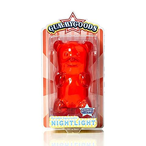 Gummygoods Squeezable Gummy Bear Night Light, Portable with 60 Minute Sleep Timer, Red - Motorcycles Neon Clock
