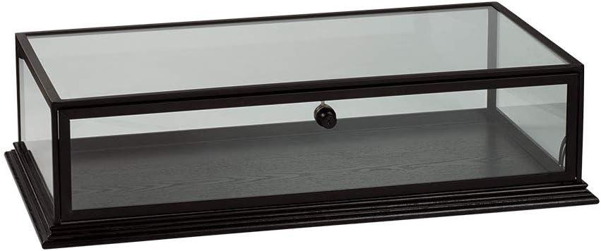"SSWBasics Black Wood Countertop Display Case - 31¾""W x 18"" D x 8"" H"
