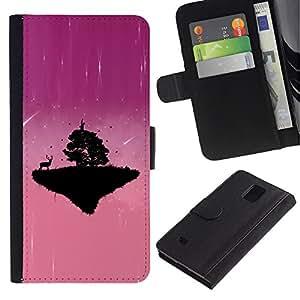 A-type (Pink Planet lindo) Colorida Impresión Funda Cuero Monedero Caja Bolsa Cubierta Caja Piel Card Slots Para Samsung Galaxy Note 4 IV