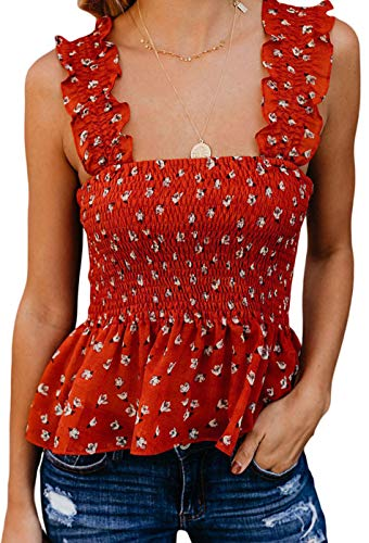 KAMISSY Women Smock Tank Top Chic Ruffle Hem Strap Vest Cami Top (Medium, Floral-red)