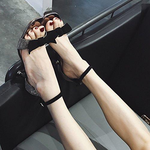 Chaussures Le La Doux Manquant Le Talon Très Talon Gracieux unie De Toe Est Haut SHOESHAOGE Les Est Femmes Couleur Et Bien Papillon Sont ~ Sandales Fermoir XOzZ5x7
