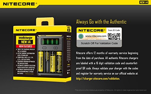 NITECORE New i4 2016 universal smart battery Charger with Ac and 12V DC (Car) power cords with EdisonBright BBX3 battery carry case