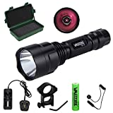 "C8 850NM LED Infrared Torch – Outdoor IR Flashlight - Compact Plane Mirror Infrared Illuminator + Recharge Battery + Charge + Remote Pressure Switch+ 1"" Scope Ring Set, Medium Profile (All-in-One Kit)"