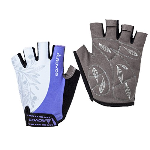 ROVOS Women's Light Non-Slip Half Finger Gel Pad Cycling Gloves Breathable Mountain Biking Riding Gym Sport Gloves