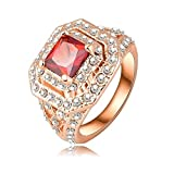Bishilin 18K Gold Plated Fashion Womens Ring Wedding Bands Square Ruby Zircon CZ Rose Gold US Size 6.5