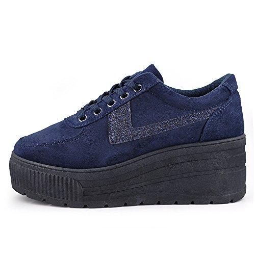 Casual Sneakers Moda Sportive 063 Zeppa Scarpe Ginnastica Blu Scamosciata Donna 063 Alta Platform wEItx48q