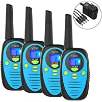 YZGE Walkie Talkies Two Way Radios 22 Channel Long Range Up to 3000M/1.9MI Range in Open Field FRS/GMRS Kids Walkie Talkies.With 1-to-4 Branch Power Adapter (4 Pack, Blue/Batteries Not Included)
