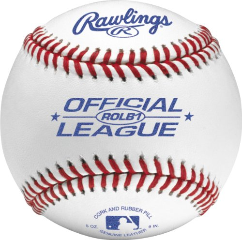 Rawlings Raised Seam Baseballs, Official Junior League Competition Grade Baseballs, Cover, Box of 12, ROLB1 (Grade Leather Baseball)