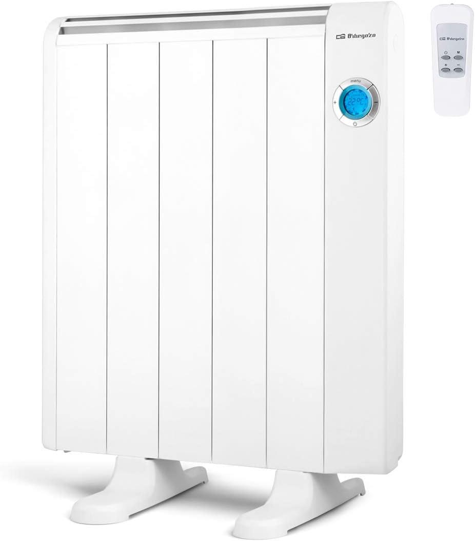 Orbegozo RRE 810 Emisor Térmico Bajo Consumo, 5 Elementos de Calor, Pantalla Digital LCD, Mando a Distancia, Funcionamiento Programable, 800 W, Aluminio, Color Blanco